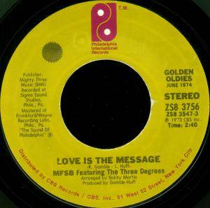Cover - MFSB Feat. The Three Degrees: Love Is The Message / TSOP