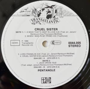 Pentangle: Cruel Sister (LP) - Bild 3