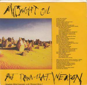 Midnight Oil: Put Down That Weapon - Cover
