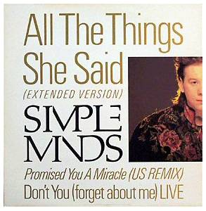 Simple Minds: All The Things She Said - Cover