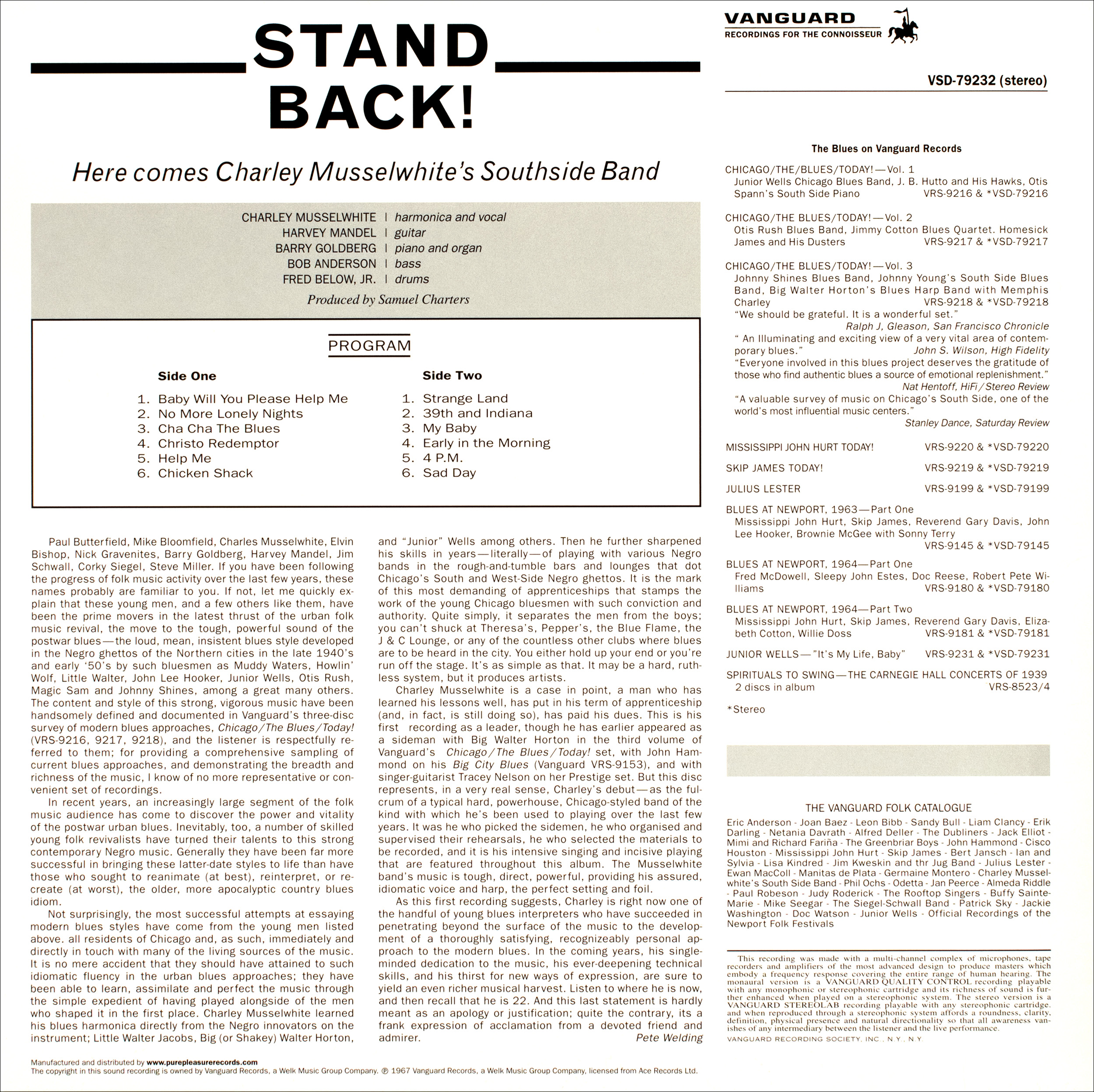Stand Back Here Comes Charley Musselwhite S Southside Band Lp 2008 Limited Edition Re Release Remastered 180 Gramm Vinyl Von Charlie Musselwhite