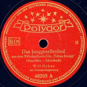 Cover - Will Höhne: Junggesellenlied, Das