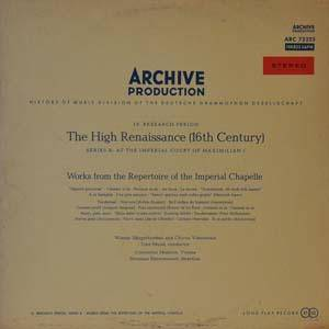 Cover - Paul Hofhaimer: High Renaissance - Works From The Repertoire Of The Imperial Chapelle, The