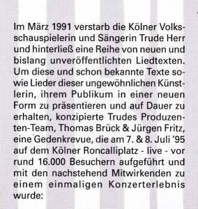 Niemals Geht Man So Ganz - Die Trude Herr Revue - CD (1995)