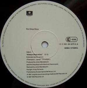 "Pet Shop Boys: Always On My Mind (12"") - Bild 2"
