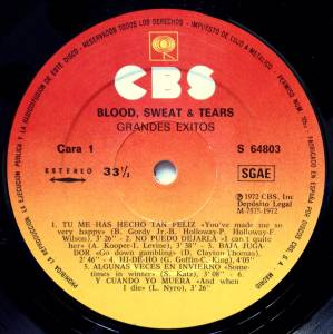 Blood, Sweat & Tears: Grandes Exitos (LP) - Bild 2