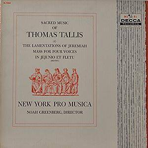 Cover - Thomas Tallis: Sacred Music Of Thomas Tallis / The Lamentationes Of Jeremiah / Mass For Four Voices / In Jejunio Et Fletu