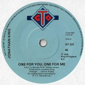 Jonathan King: One For Me, One For You - Cover