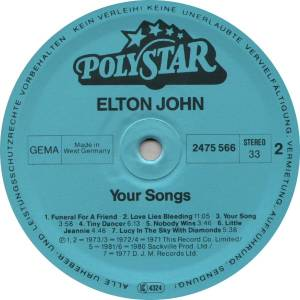 Elton John: Your Songs (LP) - Bild 4