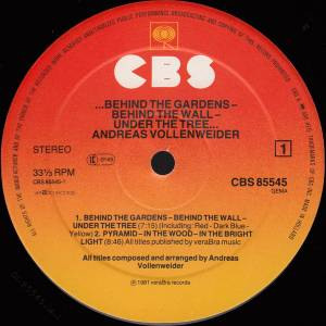 Andreas Vollenweider: Behind The Gardens - Behind The Wall - Under The Tree (LP) - Bild 3