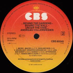 Andreas Vollenweider: Behind The Gardens - Behind The Wall - Under The Tree (LP) - Bild 4
