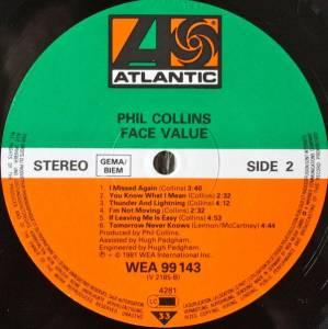 Phil Collins Face Value Lp 1981 Re Release Gatefold
