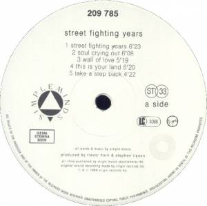 Simple Minds: Street Fighting Years (LP) - Bild 3