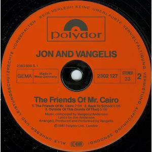 Jon & Vangelis: The Friends Of Mr Cairo (LP) - Bild 4
