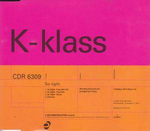 Cover - K-Klass: So Right