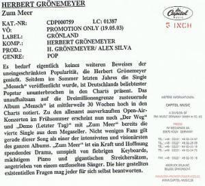 Herbert Grönemeyer: Zum Meer (Promo-Single-CD) - Bild 3
